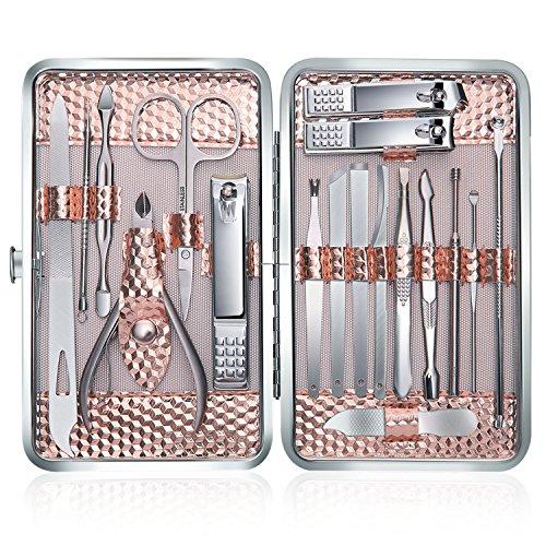 Tagliaunghie Set Professionale - Grooming Kit Strumenti per Manicure e Pedicure 18pcs con Box (Oro rosa)