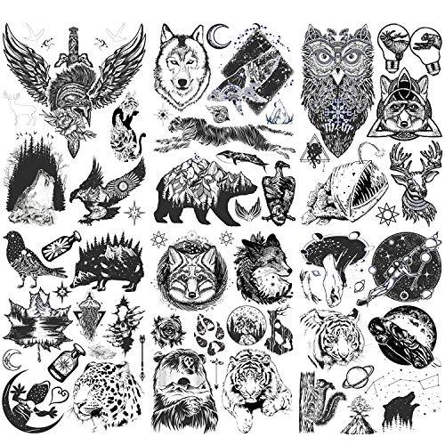 Konsait 6 Grandi fogli Animale Tigre Leone Tatuaggi temporanei per uomo Braccio Tatuaggi finti Adulti Tatuaggi temporanei Donne Bambini Scorpione Lupo Cervo Alce Fiori Pianeta tatoo temporanei