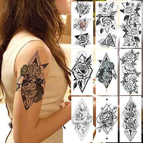 LAROI 9 Autoadesivo Sexy Dei Tatuaggi Temporanei Donna Fiore Geometrico Adulti Ragazze Peonia Schizzo Disegno Triangolo Arte Rosa Design Lavabile Impermeabile Tatuaggio Temporaneo Falso Nero Flora