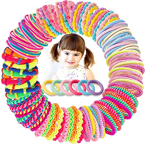 VEGCOO 150 Pezzi Elastici per Capelli Bambina, Mini Fasce per Capelli Multicolori Fascette Elastiche per Capelli per Coda di Cavallo, 11 Stile (A)