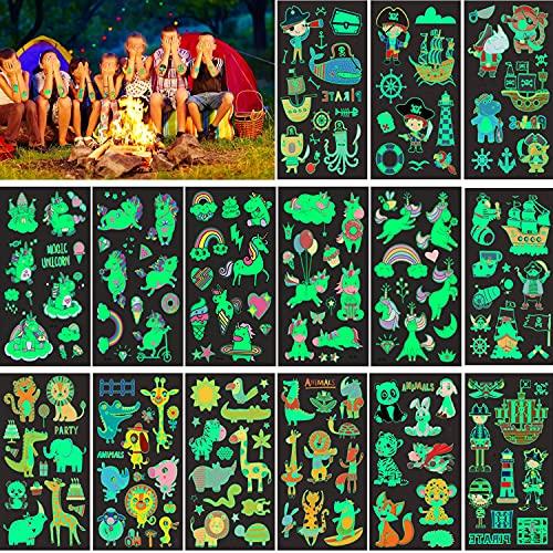 15 Fogli Luminose Tatuaggi Bambini,Luminosi Impermeabili Falso Tatuaggi Natale Tattoos per Bambini Regali per Feste per Ragazzi Ragazze Compleanno