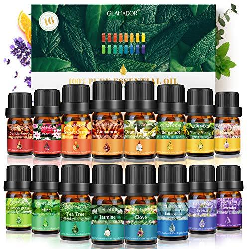 Oli Essenziali Regalo Kit, GLAMADOR 16 Tipi di Oli Essenziali Naturali Puri Set Olio per Umidificatore Aromaterapico, Confezione Regalo di Oli Essenziali Biologici con Diverse Funzioni