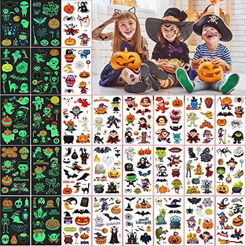 30 Fogli Tatuaggi Temporanei per Bambini, Tatuaggi Finti Impermeabili, Adesivi Finti Ragazzo Ragazza Compleanno Festa Giochi Decorazione Regalini Gadget Giocattoli (Halloween)