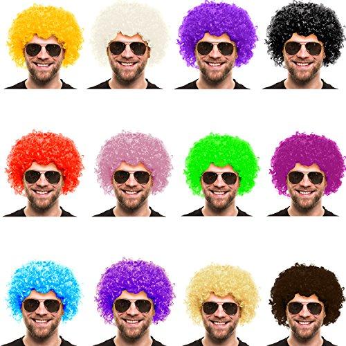 Balinco Parrucca Afro | Parrucca Testa riccia | Parrucca Afro | Riccioli | XXL Parrucca riccia per Uomini e Donne | per Carnevale (Blu)