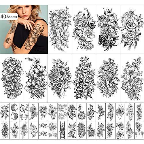 Yazhiji 40 fogli Tatuaggi Temporanei Duraturi Collezione di Fiori Grandi Adesivi Impermeabili per Tatuaggi Temporanei Finti per Donne e Ragazze