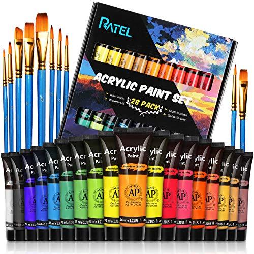 RATEL Set da Colori Acrilici, con 18 Tubi Pittura Acrilica e 10 Pennelli per Pittura, 18×36 ml Pigmento Acrilico, Colore Acrilico per Carta, Roccia, Legno, Ceramica, Sia per Esperti che Principianti