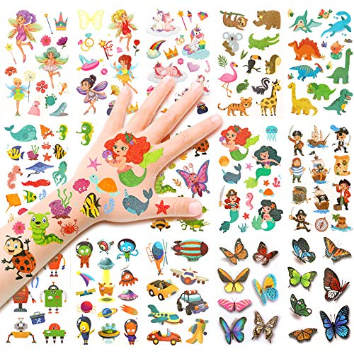 HOWAF Tatuaggi per Bambini, Flash Tatuaggi temporanei Fata/Animali/Farfalla/Pirata/Dinosauro/Unicorno Adesivi Tatuaggi Bambina, ricompensa Regalo Compleanno Bambini Ragazze Ragazzi, 14 Fogli