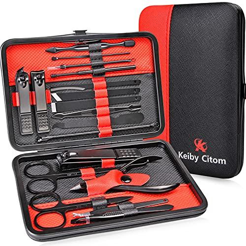 Tagliaunghie Set Professionale - Grooming Kit Strumenti per Manicure e Pedicure 18pcs con Box (Nero Rosso)