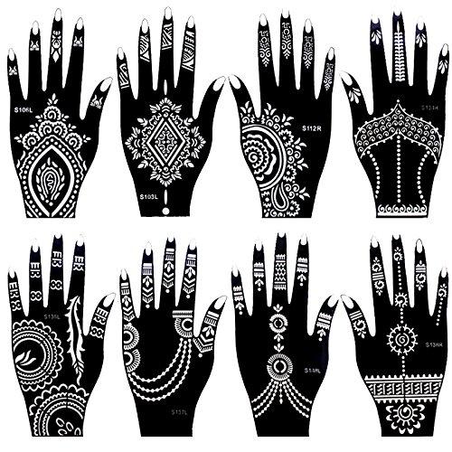 8 pezzi India Henné Tattoo Stencil Set per Donne Ragazze Mano Dito Corpo Vernice Temporanea Tatuaggi 20 X 10.5cm