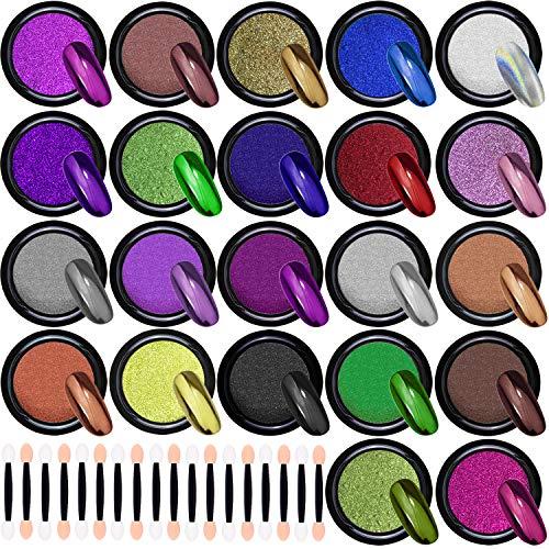 Duufin 22 Scatole Polvere per Unghie Effetto Specchio Glitter a Specchio Polvere per Unghie Nail Art, 1g/Scatole
