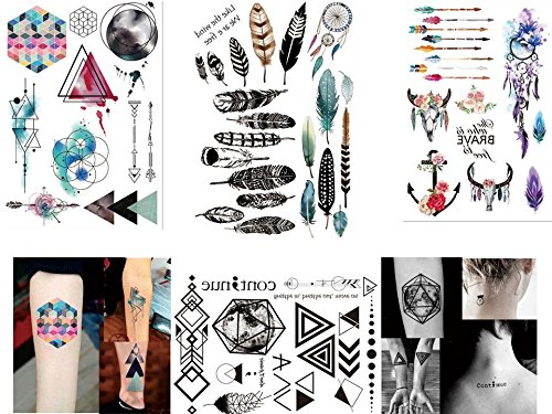4 fogli di tatuaggi temporanei – Flash Tattoo Set 2 – Linee geometriche, colori ad acqua e acchiappasogni