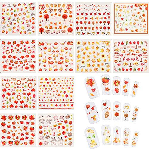 12 Fogli Adesivi per Unghie Autunnali Adesivi per Unghie con Foglie d'Autunno Adesivi Tatuaggi per Unghie di Ringraziamento e Pinzette per Donne Ragazze Decorazioni per Unghie Fai-da-Te