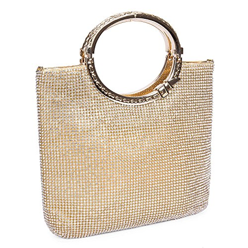 EULovelyPrice Borse da sposa da donna con strass in cristallo e pochette da sera (d'oro)