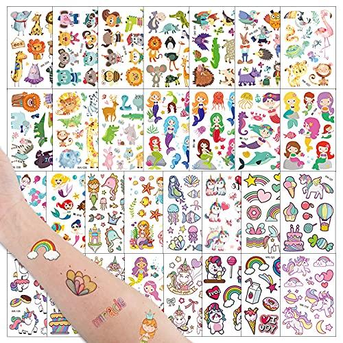 FLOFIA 30 Fogli Tatuaggi Feste Temporanei Tatuaggi Animali Sirena Unicorno Tatuaggi Finti Adesivi Gadget Regali Giochi per Decorazione Feste Compleanno Ragazze Ragazzi