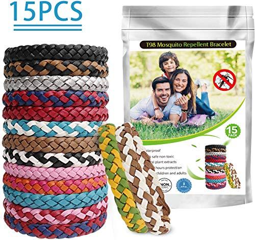 X99 Braccialetti Antizanzare (15 PC), Braccialetti Repellenti con Olio Essenziale Vegetale Naturale Zanzara Insetti per Bambini, Adulti, Uomini e Donne Interno ed Esterno