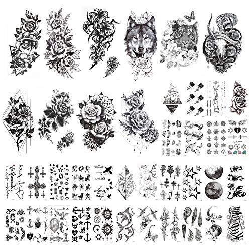 HOWAF 40 Fogli Tatuaggi Temporanei Impermeabili, Nero Falso Tatuaggi Temporanei Luna Leone Tigre Totem Fiore Rosa per Adulti Uomini e Donne