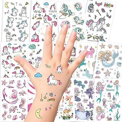 AGPTEK Set di Tatuaggi di Unicorno, 14 Fogli di Tatuaggi Temporanei per Bambine con Unicorno, Sirena e Fenicottero, Adesivi per Ragazze, Regali di Compleanno per Bambine, Festa, Festival, 250 Pezzi