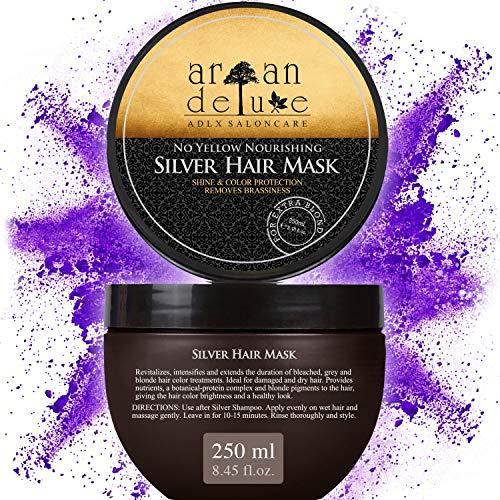 Maschera per capelli Antigiallo Argan Deluxe di qualità professionale 250 ml - Silver Mask - trattamento per capelli con shampoo silver per una luminosità extra setosa