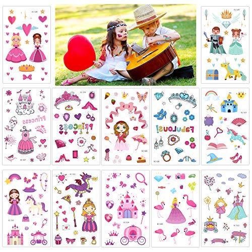 Konsait Principessa Bambina Tatuaggi temporanei, 220 Unicorno Castello Principessa Adesivo Giocattolo per Bambini Ragazze Regali Festa di Compleanno Bomboniere