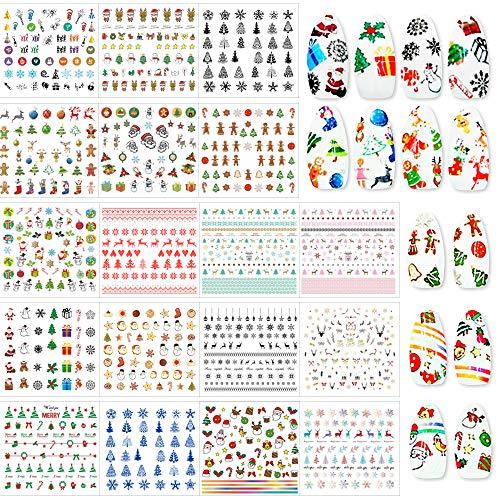 FLOFIA 18pz Adesivi Unghie Natale Natalizi 1500+ Trasferimento ad Acqua Decalcomanie Nail Stickers Water Decals Natale Adesivi per Decorazioni Unghie Nail Art Fai da Te