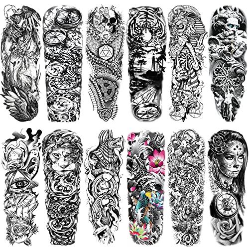 Qpout Tatuaggi Temporanei Di Trasferimento Dell'Acqua Braccio Completo 12 Fogli Adesivi Tatuaggi Manica Grande Bestia Rosa Lupo Leone Occhio Di Tigre Teschio Totem Tatuaggi Finti Tatuaggio Nero
