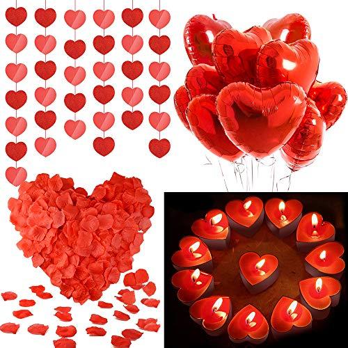 Palloncini a Forma di Cuore, MMTX Lattice Palloncini e Pompa e Candele Rosse, Seta Petali,Cuore Rosso Grande per Matrimoni, Anniversari, San Valentino (Cuore)