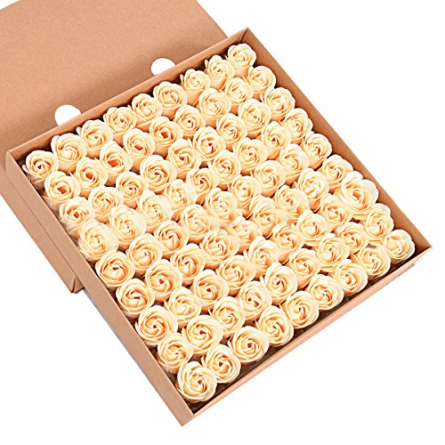 ZUMUii Butterme 81pcs Mano Bagno profumato Sapone del germoglio della Rosa Petali di Fiori di Favore di Nozze in Contenitore di Regalo (Oro)