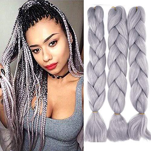 Treccine Extension Capelli Sintetici per Treccine Africane 3 Ciocche Trecce Jumbo Braiding Hair Kanekalon (Grigio chiaro)