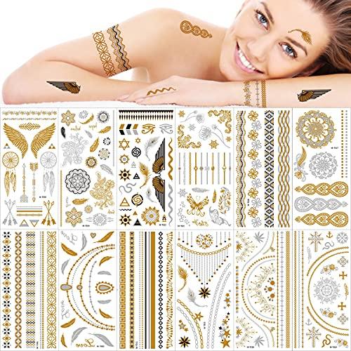 12 Fogli Metallico Tatuaggi Temporanei, Autoadesivi Finti Argento Oro Impermeabile Tatuaggio Temporaneo, Scintillio Luccicante Disegni Adesivi Artistico in su per adulti ragazza donne adolescenti
