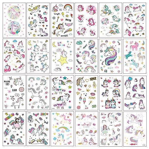 LIRDUX® Unicorno Tatuaggi temporanei per Bambini, Tatuaggi Finti Temporanei Adesivi Unicorno, Fata, Cuore, Design su 400+ Motivi, Regalo per Festa di Compleanno o Bomboniera per Le Ragazze (25 fogli)
