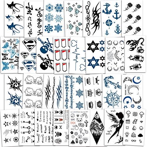 Qpout Tatuaggi temporanei per uomo Ragazzi Donne Ragazze Ragazze Bambini (30 fogli), Tatuaggio temporaneo nero piccolo impermeabile Tatuaggi finti Adesivi Mano Collo Piede Indietro