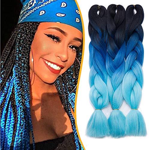 60cm-Treccine Africane Extension 3 Pezzi Capelli Finti per Treccia Extension Trecce Lunghe Braiding Hair–Nero a Blu a Cielo Blu