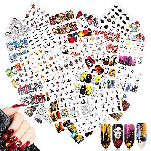 48 Fogli Halloween Adesivi Unghie Decalcomanie,MWOOT Nail Art Stickers Trasferimento ad Acqua Adesivi Unghie per DIY Unghie Consigli Decorazioni