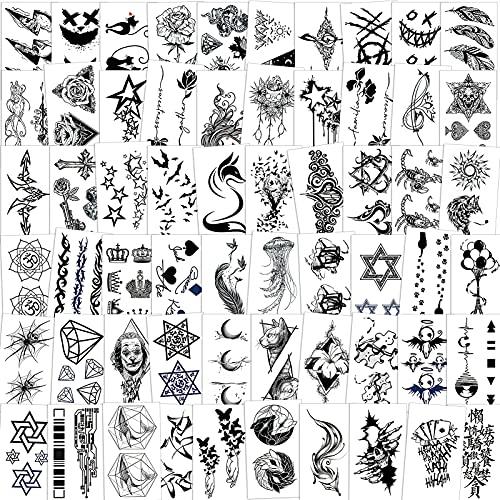 Qpout Tatuaggi Temporanei Per Adulti Donne Uomini (60 Fogli), Tatuaggi Impermeabili Falsi Adesivi Body Art Neri Viso Braccio Manica Collo Polso Tatuaggi Stella a Sei Punte Piuma Corona Fiore Totem