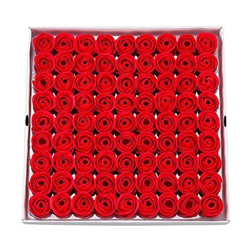 Weiye Sapone a forma di rosa, sapone profumato ai fiori, sapone con olio essenziale della pianta, regalo per anniversario, compleanno, matrimonio, San Valentino, 81 pezzi Red a