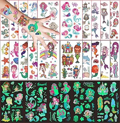 Tatuaggi Temporanei per Bambini, 250 Pezzi Tatuaggio Set de Temi Sirena, 20 Fogli Tatuaggio Finti e 5 Fogli Luminous Adesivi Tatuaggi, Ragazzo Ragazza Compleanno Festa Giochi Regalini Giocattoli