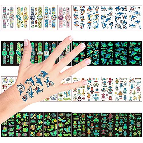 Tatuaggi Temporanei per Bambini,200+ Luminous Adesivi Tatuaggi Finti,per Ragazzo Ragazza Adulti Festa Compleanno Giochi Decorazione Regalini Gadget Giocattoli