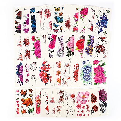 60 Fogli Finti Tatuaggi Temporanei di fiori per Donne Adesivi per Tatuaggi di Dimensioni con Fiori Adesivi per Tatuaggi Body Art Tattoo Stickers per Donne o Ragazze