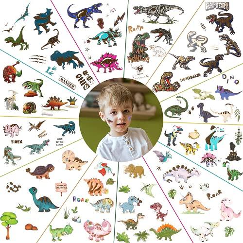 Tatuaggi Temporanei per Bambini, Tatuaggi per Bambini Dinosauro,Set di Tatuaggi per Bambini - Tatuaggi Finti Adesivi per Ragazze Ragazzi Compleanno Decorazioni per Feste Regalo,12 Fogli