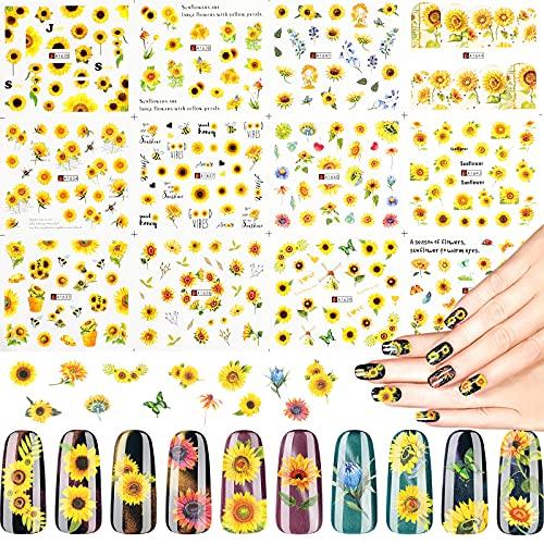 24 Fogli Adesivi di Unghie a Girasole Decalcomanie ad Acqua per Manicure Floreale Tatuaggi per Unghie a Design Girasole Piccolo in Fogli Filigrana di Trasferimento Decal di Unghie Girasole