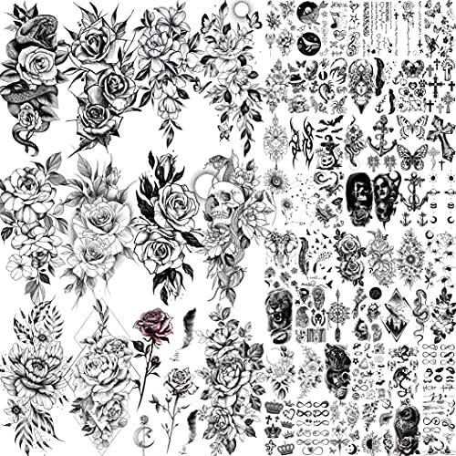 Shegazzi 64 Fogli Fiori Tatuaggi Temporanei Adulti Donna 3D Realistico Nero Teschio Rosa Fiore Serpente Kit Tatuaggi Finti Uomo Bambini Manica Del Braccio Mano Viso Collo Adesivi Per Tatuaggi Bambina