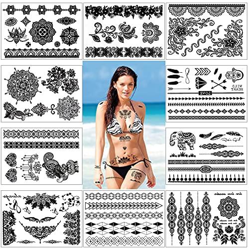 Konsait 10 fogli impermeabile pizzo Mehndi Tatuaggi temporanei finto Tatuaggio Temporaneo Tattoo Body Art Stickers per bambini adulti donna uomo (nero)