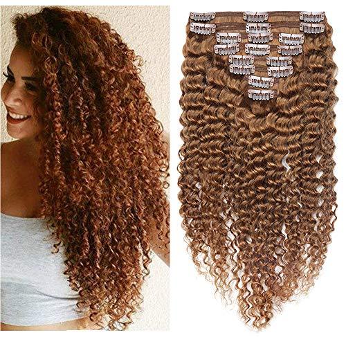 SEGO Extension di Capelli Ricci Clip Veri 8 Fasce Extensions Afro 100% Remy Human Hair Umani con 18 Clips Double Weft Volume 20cm-95g #30 Castano Ramato Chiaro