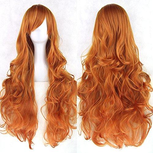 Zinsale 80cm Lungo Naturale Calore Resistente Lolita Riccio Parrucca Cosplay (arancione)