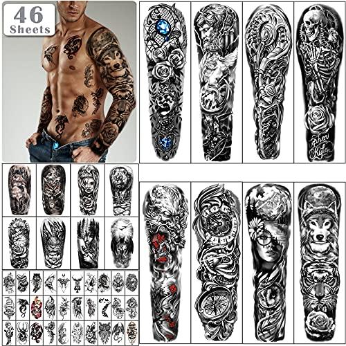 46 fogli Full Arm Skull Tatuaggi Temporanei per uomo Mezzo Braccio Spalla Angelo Tattoo per Signore Falso Impermeabile Wolf Lion Stone Tattoo adesivi per Adulti o Bambini