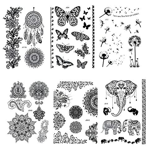 Pinkiou Set di adesivi per tatuaggi temporanei impermeabile in pizzo nero fiore elefante donne body art trucco adesivi (6 pezzi)