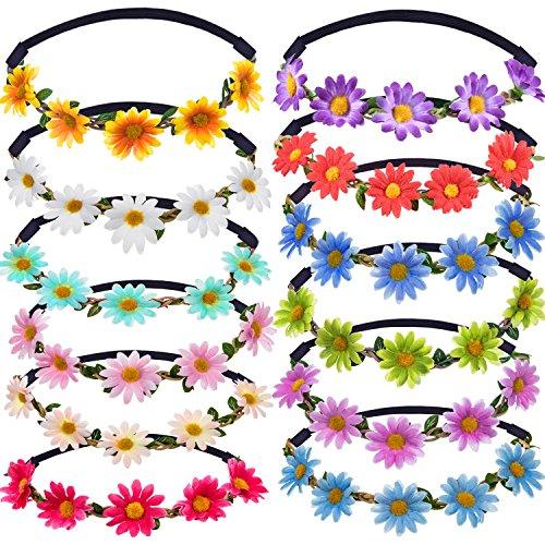 12 Pezzi Multicolore Signora Ragazza Moda Corona di Fiori Fasce Floreali di Ghirlanda per Festival Matrimonio Festa