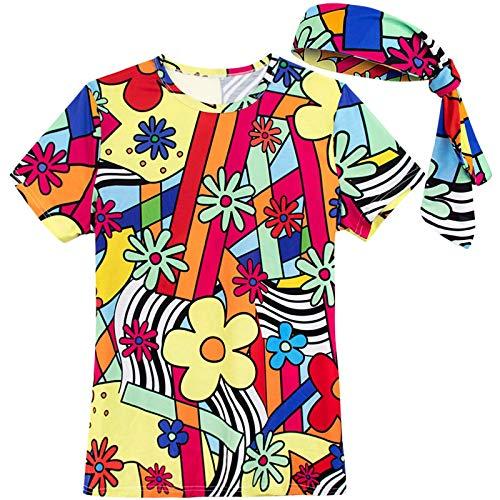 COSAVOROCK Donna Colorato Flower retrò Costume Maglietta con Fasce Capelli (M, Multicolore)