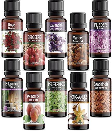 Set di 10 Olio Profumati© Essenziali per Aromaterapia in Confezione Regalo. ORGANITERRA Pacchetto di aromi assortiti: