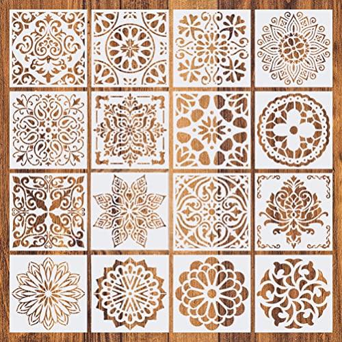 Stencil mandala da 16 confezioni, stencil per pittura riutilizzabili Mandala Punteggiatura modello , Plastica Disegno Pittura Modello di Stencil per Scrapbook Pareti DIY Decorazione(15x15cm)